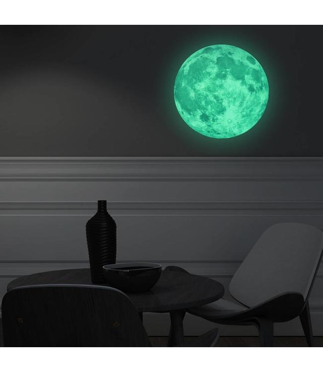 Muursticker glow in the dark maan 30 x 30 cm