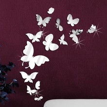 Muursticker 14 spiegel vlinders