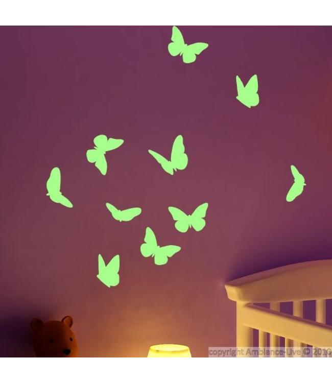 Muursticker glow in the dark vlinders