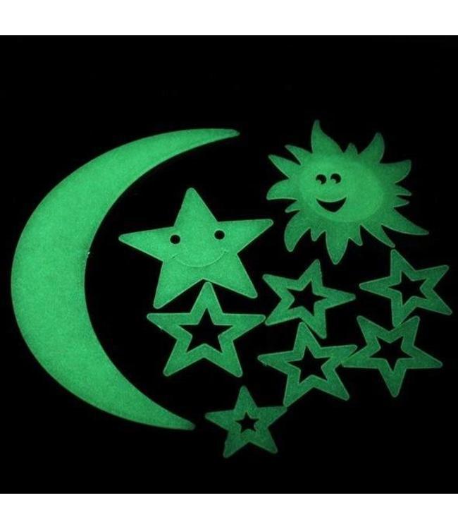Glow in the dark zon, maan en sterren