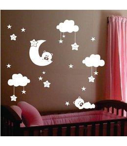 Muursticker beertjes met wolkjes, maan en sterren