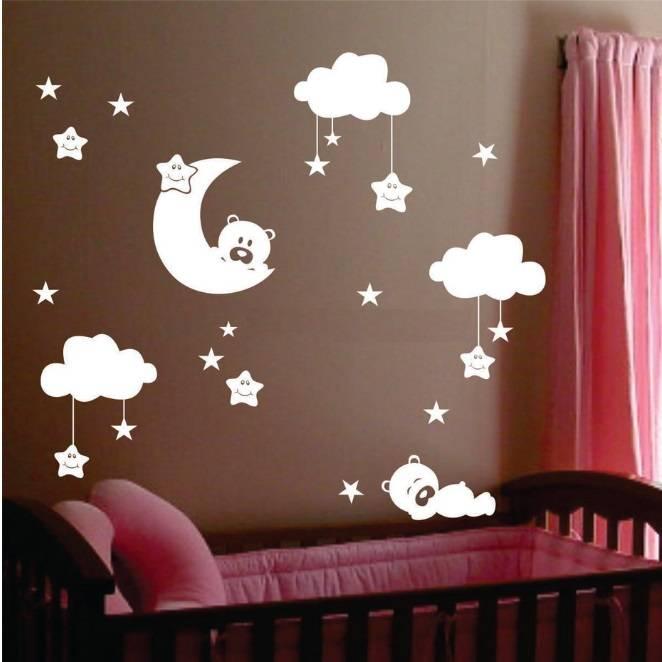 muursticker beertjes met wolkjes, maan en sterren - kinderkamer, Deco ideeën