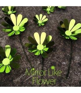 3D bloemen spiegel effect groen