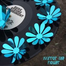 3D bloemen spiegel effect blauw