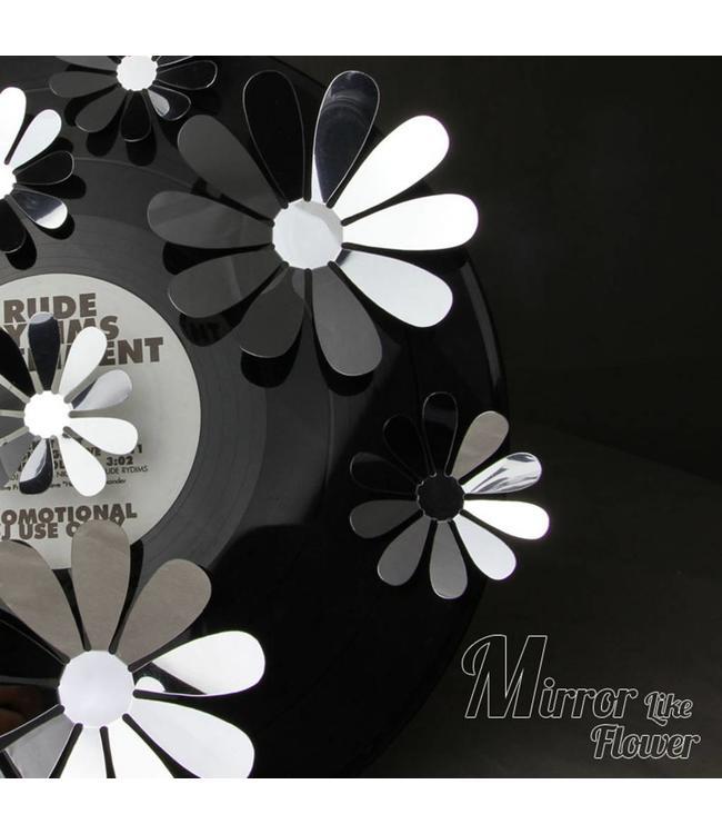 3D bloemen spiegel effect blauw - Copy