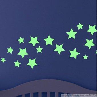 Muursticker glow in the dark sterren versie 2