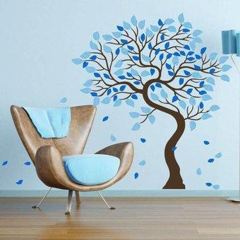 Muursticker mooie blauwe boom