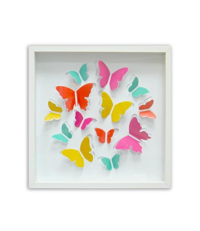 Houten lijst met vlinders