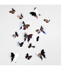 3D vlinders spiegel effect zilver