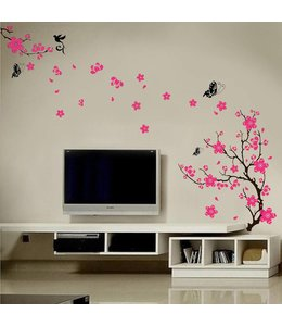 Muursticker mooie bloesemtak roze