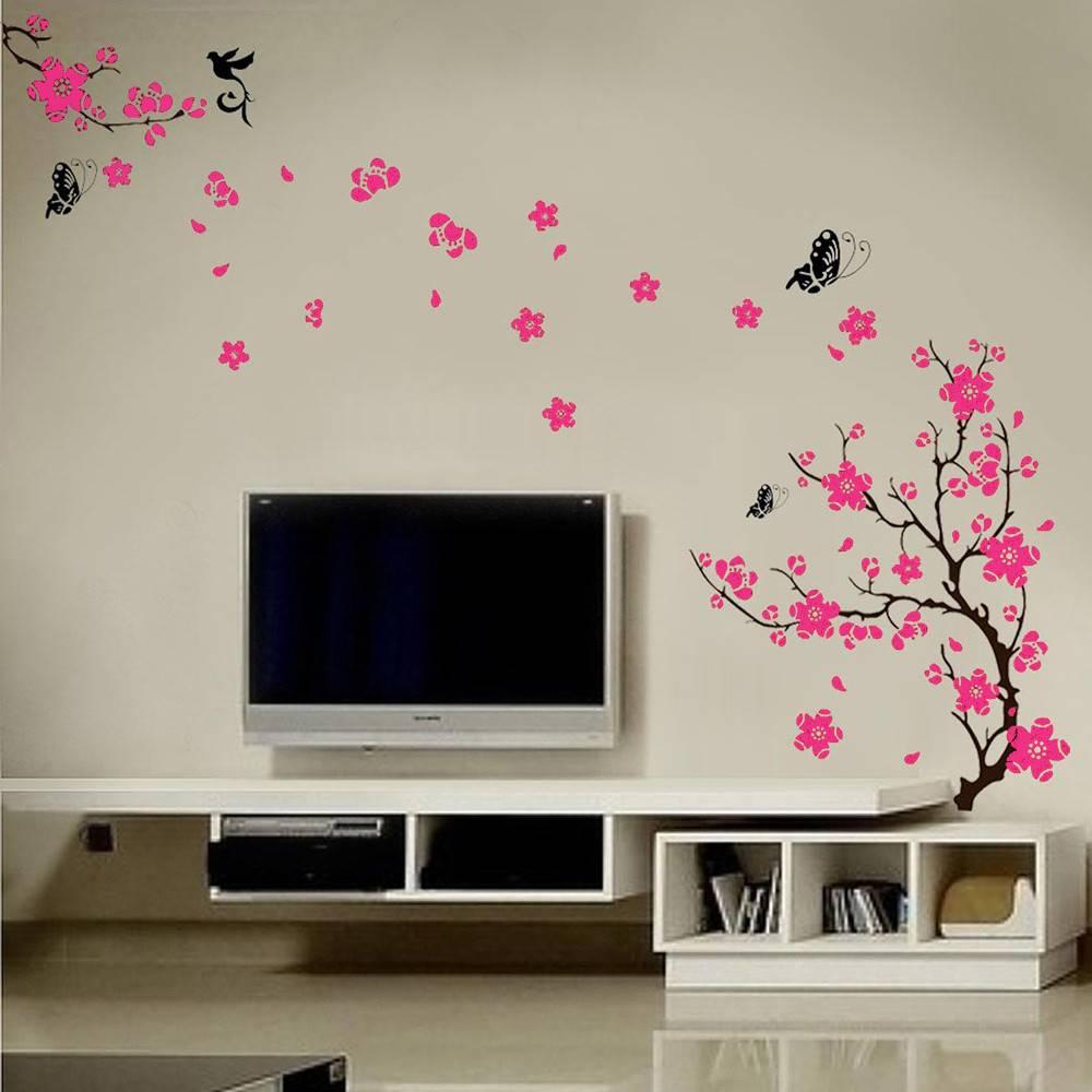 Muursticker mooie bloesemtak roze   muurstickers huiskamer ...