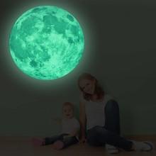 Muursticker glow in the dark maan XXL 90 x 90 cm