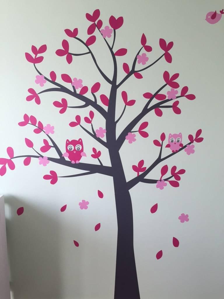 muursticker grijze boom met uiltjes en giraffe roze - kinderkamer, Deco ideeën