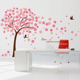 Muursticker mooie bloesem boom roze