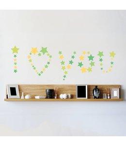 Muursticker mooie sterren groen-geel