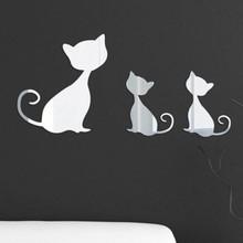 Muursticker lieve spiegel katjes
