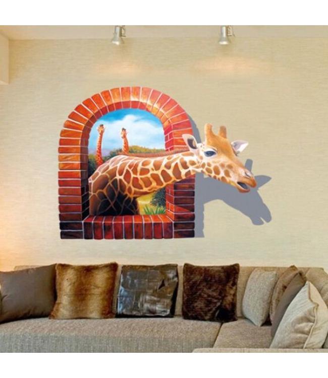 Muursticker giraffe kijkt door open raam
