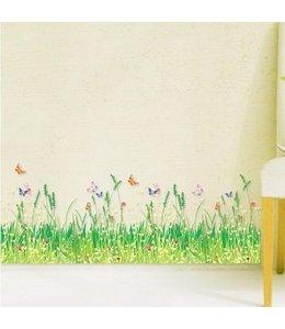 Muursticker gras met vlinders