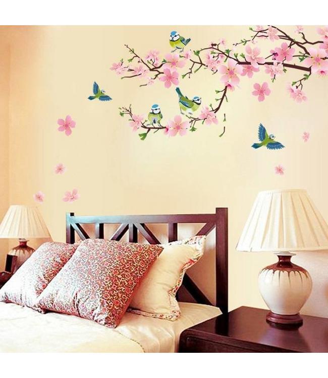 Muursticker mooie tak met vogels - muurstickers slaapkamer ...