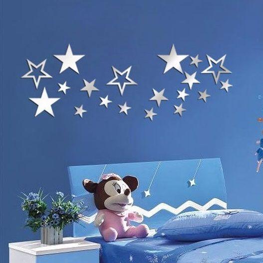muursticker spiegel sterren - muurstickers kinderkamer, Deco ideeën