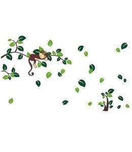 Muursticker aapje op tak groen