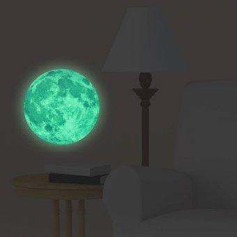Muursticker glow in the dark maan 20 x 20 cm