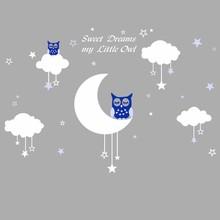 Muursticker uiltjes op maan en wolk met sterren blauw
