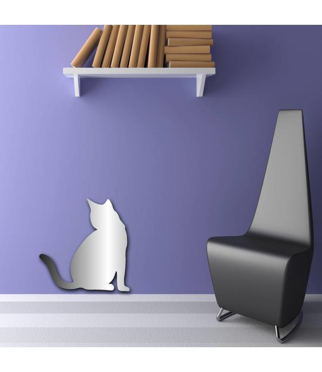 Muursticker mooie spiegel kat