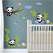 Muursticker lieve panda beertjes