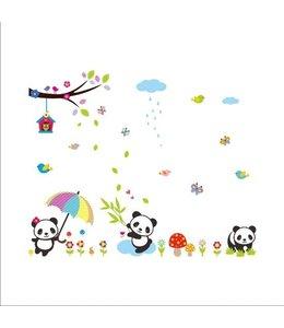 Muursticker lieve panda beren