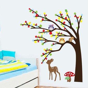 Muursticker boom met uiltjes en hertje