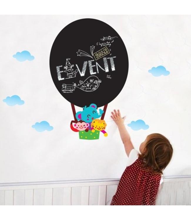Muursticker krijtbord luchtballon met diertjes
