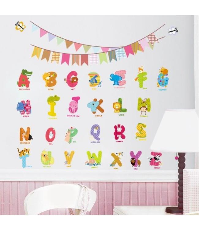 Muursticker dieren alfabet