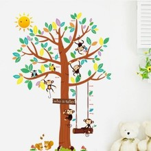 Muursticker groeimeter boom met aapjes