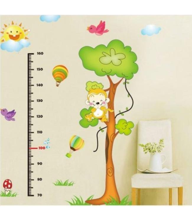 Muursticker groeimeter boom met aapje