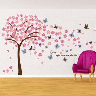 Muursticker mooie bloesem boom roze met 3D vlinders