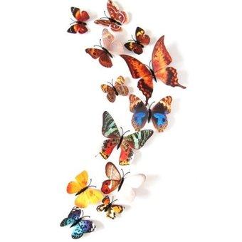 3D vlinders mix bruin