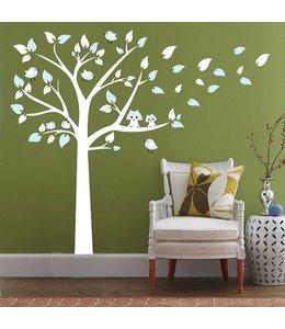 Muursticker witte boom met uiltjes en vogeltjes blauw