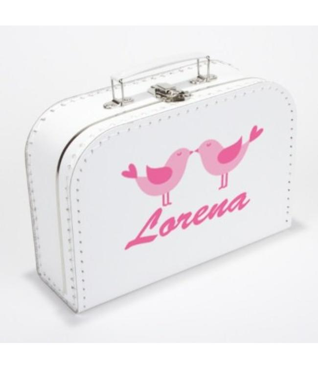 Kinderkoffertje met naam vogeltjes