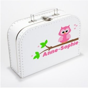 Kinderkoffertje met naam en uiltje