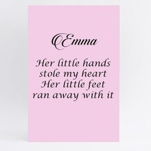Tekstbord her little hands