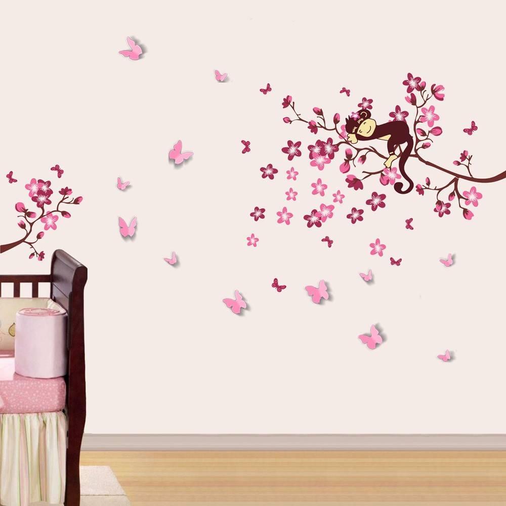 Muursticker schattig aapje op bloesemtak muurstickers zo - Stickers chambre bebe fille ...