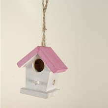 Hanger vogelhuisje wit roze