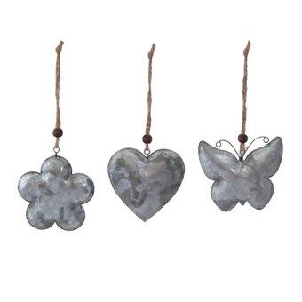 Metalen hanger hart, bloem, vlinder