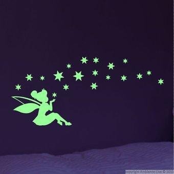 Muursticker glow in the dark elfje met sterren