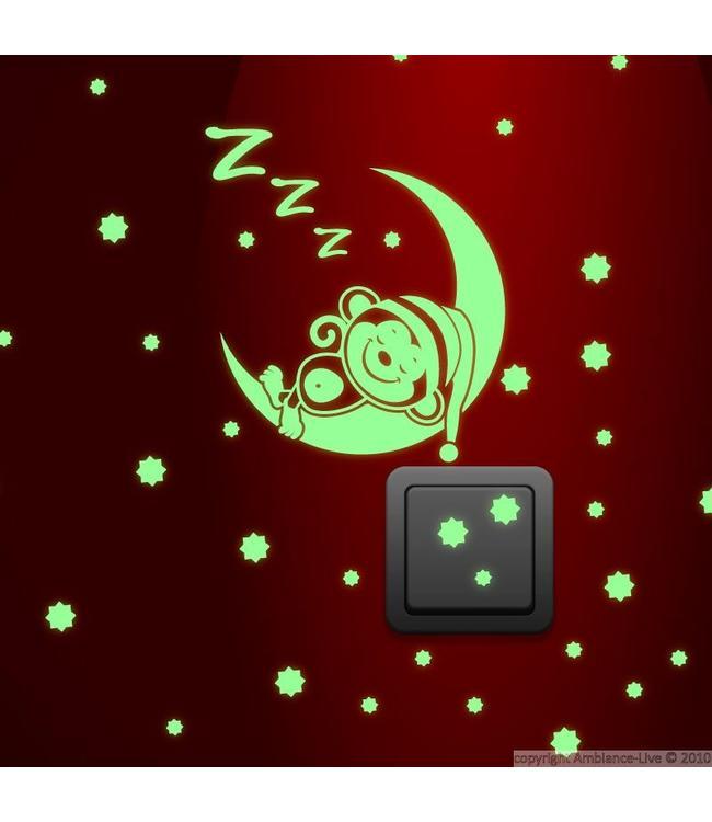 Muursticker glow in the dark aapje op maan met sterren