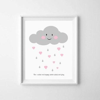 Kinderposter wolkje met hartjes