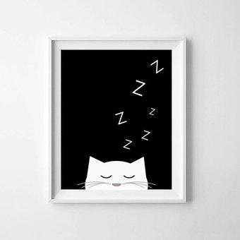 Kinderposter slapend katje