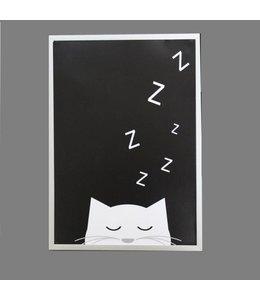 Kinderposter slapend katje met lijst A4