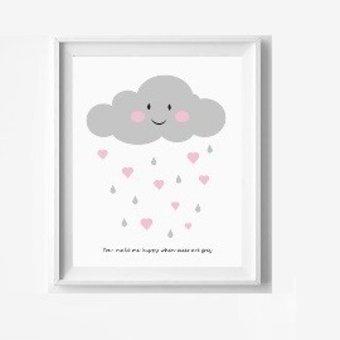 Kinderposter wolkje met hartjes met lijst A4